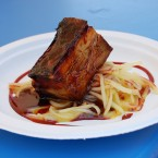 Jamaica-glazed pork belly by new Michelin 2013 one-star chef Carlos Gaytan of Mexique at Taste of Chicago 2012