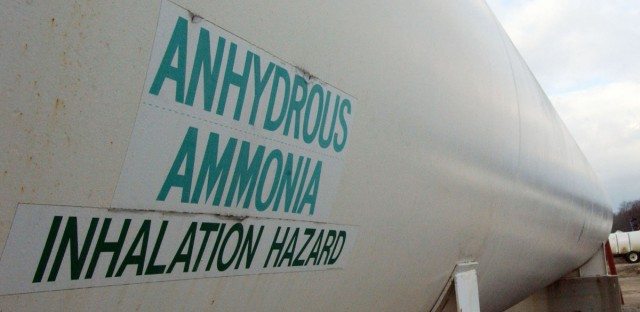 A storage tank filled with the farm fertilizer anhydrous ammonia in Waldo, Ohio. A leak from an anhydrous ammonia tank occurred Thursday in Beach Park, north of Chicago, causing more than 30 people to be hospitalized.