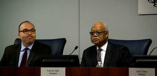 Chicago Board of Education President Frank Clark (right) presides over a board meeting on Jan. 25, 2017.
