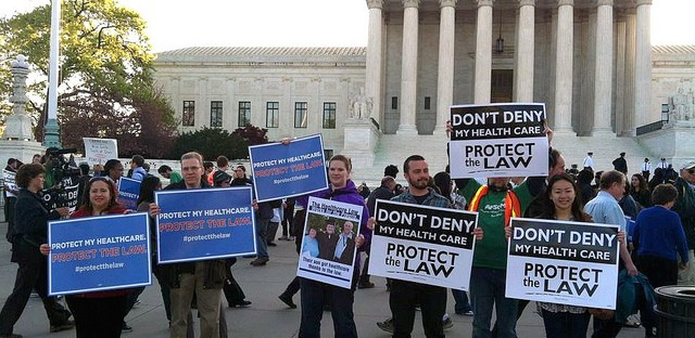Healthcare activists gathered in front of the Supreme Court to demonstrate support for ACA in March.