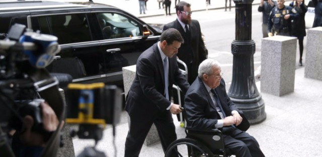 Former House Speaker Dennis Hastert arrives at the federal courthouse on Wednesday in Chicago for his sentencing.