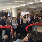 Chicago Mayor Rahm Emanuel appeared at Midway Airport on Tuesday for a ribbon-cutting event marking the opening of the new $75 million concessions at the Southwest Side airport.