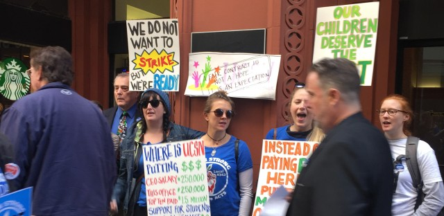 Staff at the UNO Charter School Network protest last week. The teachers said the key sticking points are keeping class sizes below 32 students and increasing pay for support staff like teachers aides.