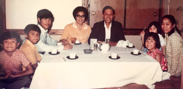 The author (second from left) with his parents, siblings and Lola.