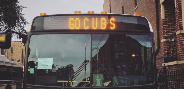 A Chicago Transit Authority bus shows some Cubs spirit. CTA officials say Cubs celebration brought a record number of riders.