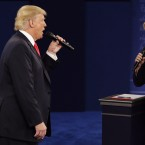 President-elect Donald Trump and Hillary Clinton debate in St. Louis on Oct. 9. The CIA has concluded that the Russians sought to tip the advantage in Trump's favor, a finding that Trump has dismissed.