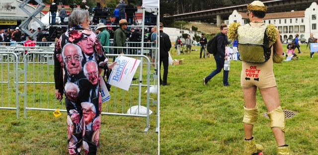 Sanders supporters Genei Baker (left) and Palmer Lamb (right) both came dressed to inspire and impress for Sanders' last rally before the California primary.