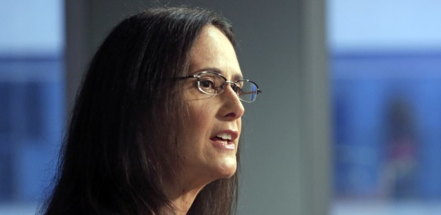 "In this Aug. 21, 2014, file photo, Illinois Attorney Gen. Lisa Madigan speaks at a news conference in Chicago. St. Clair County Circuit Judge Robert LeChien denied a request by Madigan to halt state worker paychecks unless lawmakers resolve the state's budget impasse Thursday, Feb. 16, 2017 in Belleville, Ill. Rauner has criticized Attorney General Lisa Madigan's legal move, suggesting she wanted to create a ""crisis"" that would shut down the government."