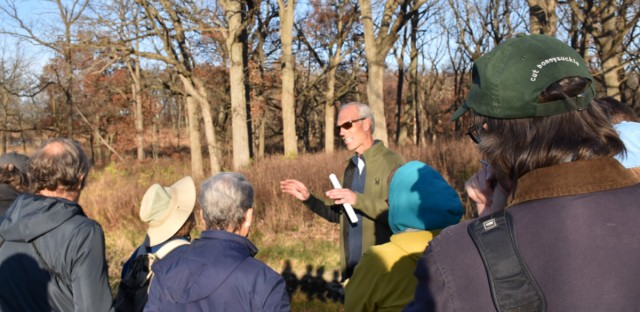Brad Semel, heritage biologist for IDNR, leading a Restoration & Wildlife class.