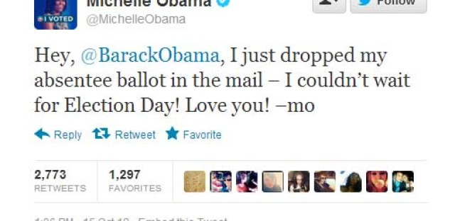 Today in presidential history: President and First Lady Obama vote early, and in her case, absentee