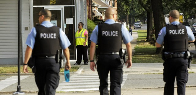 Chicago Police patrol the neighborhood in Chicago. In 2015 study, the American Civil Liberties Union of Illinois found that Chicago officers conducted more than 250,000 stops of people who weren't arrested.