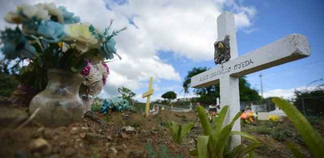 This Sept. 8 photo shows the burial site of Argeo Caraballo at the municipal cemetery in Vieques, Puerto Rico.