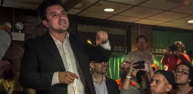 Byron Sigcho-Lopez thanking his supporters as he claimed victory in his campaign for alderman of Chicago's 25th Ward on April 2, 2019.