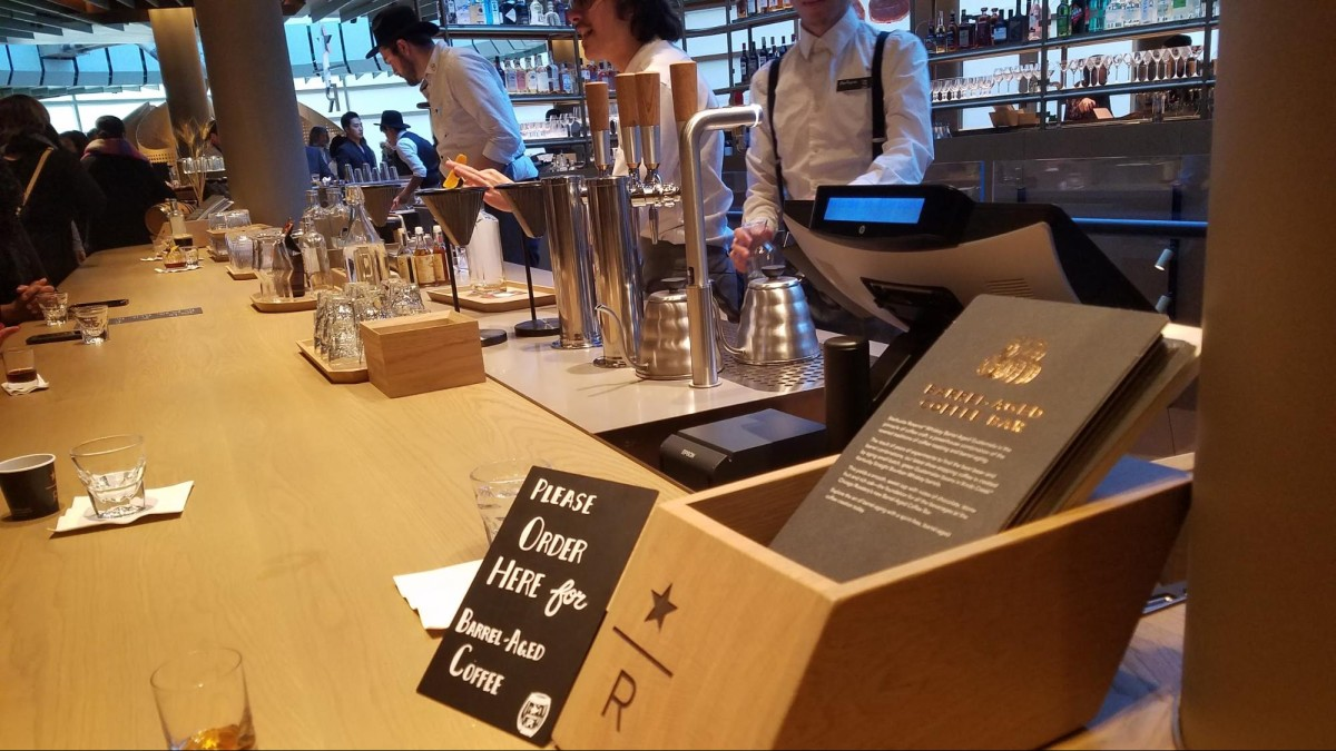 At the new Starbucks Reserve Roastery on Mag Mile in Chicago