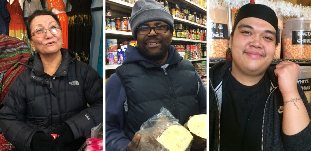"""These three """"new Canadians,"""" as immigrants are called in Canada, have made Toronto their home. They work or own a business at Kensington Market. (Left) Dolkar Tsering was born in Tibet and grew up in Nepal. (Center) Michael Thomas came from Jamaica to reunite with family in 1987. (Right) Wynnona Yumol came to Canada from the Philippines with her parents when she was 2 years old."""