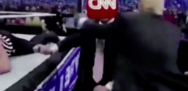 A Reddit post of a man in a business suit with the CNN logo for a head getting demolished by Trump in a wrestling match, was shared by the president himself on Twitter Sunday morning.