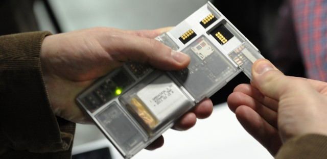 Google's modular Project Ara is showcased at the Engadget Expand conference in New York in 2014.