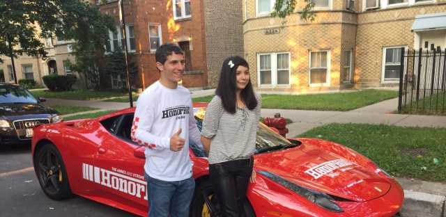 Karen Roman (left) stands next to her ride for the first day of school.  Businesses near Wells Community Academy High School in West Town sent the top sophomore, junior, and senior to school in Ferraris and a Lamborghini.