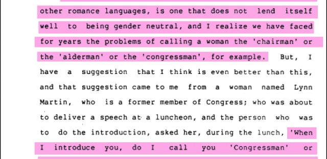 An excerpt from a 1993 transcript from an IL House of Representatives debate on whether to change the term 'alderman' to 'alderperson'. Rep. Clem Balanoff-D introduced the bill. Rep. Mary Lou Cowlishaw-R supported it.