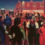 A painting by Archibald J. Motley Jr. of Chicago's Bronzeville neighborhood lit by moonlight and incandescent street lights.