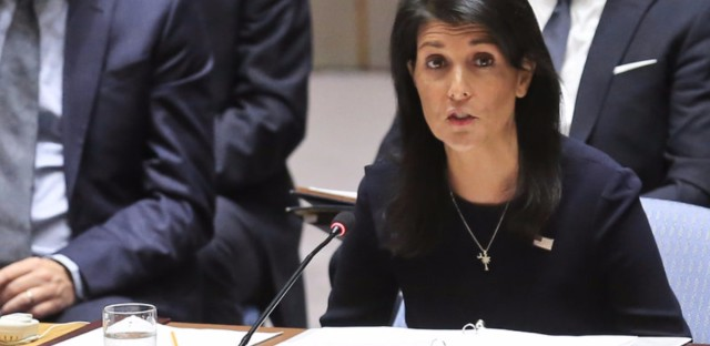 United Nations U.S. Ambassador Nikki Haley addresses a U.N. Security Council meeting on North Korea, on Monday.