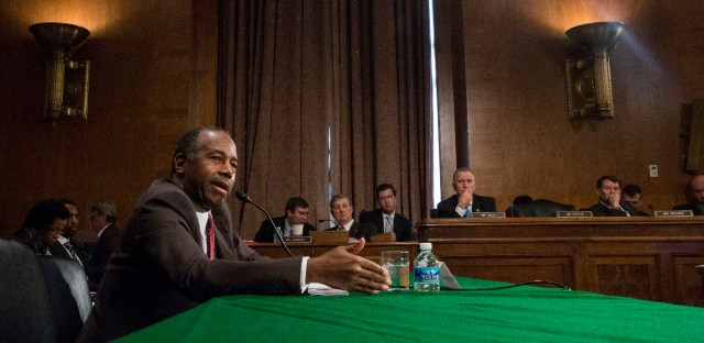 Housing and Urban Development Secretary-designate Ben Carson testifies on Capitol Hill in Washington, Thursday, Jan. 12, 2017, at his confirmation hearing before the Senate Banking, Housing, and Urban Affairs Committee.