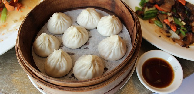 Xiaolongbao with black vinegar and ginger in Shanghai, China