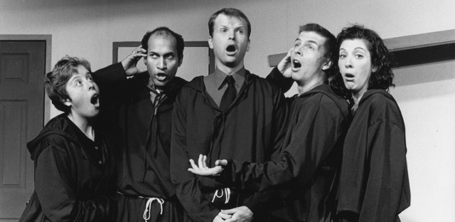 "From left to right: Samantha Albert, Keegan-Michael Key, TJ Jagadowski, Jack McBrayer and Abby Sher perform ""23rd ETC Revue ""Holy War Batman! Or The Yellow Cab of Courage"" at Second City."