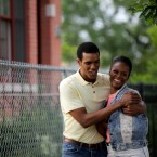 "This image released by Roadside Attractions shows Tika Sumpter, right, and Parker Sawyers in a scene from ""Southside With You."""
