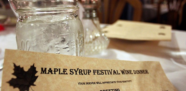 Maple Syrup Festival wine dinner menu at Story Inn in Story, Indiana