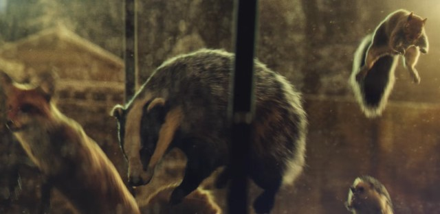 Forest animals frolic on a trampoline in a still from the 2016 John Lewis ad.