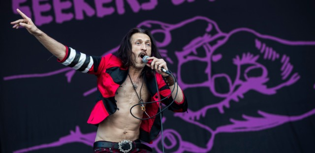 Ukranian-born singer Eugene Hütz of the US Gypsy punk band Gogol Bordello performs during their concert on the seventh day of the 26th Sziget (Island) Festival on Shipyard Island, northern Budapest, Hungary, Tuesday, Aug. 14, 2018. The Sziget Festival is reputed to be one of the biggest cultural events of Europe.