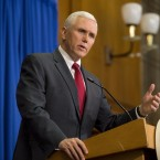 Then-Gov. Mike Pence of Indiana speaks during a press conference March 31, 2015 in Indianapolis.
