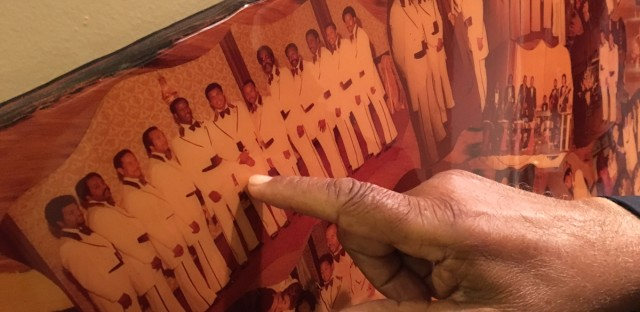 Cleve Walker points to pictures from his 1978 wedding with the former Ms. Belvon Mack