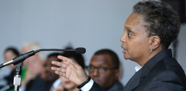 Lori Lightfoot speaks at a Chicago Police Board news conference in Chicago on March 17, 2016.