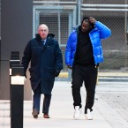 R. Kelly leaves Cook County Jail with his defense attorney, Steve Greenberg, left, on Monday, Feb. 25, 2019. Kelly has been released from jail in Chicago, three days after being booked on charges alleging that he sexually abused four women, including three who were minors at the time. (AP Photo/Matt Marton)