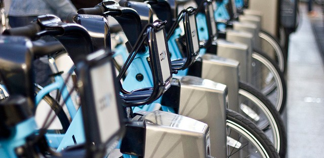 Divvy's first fleet of bikes, set up at the station at Daley Plaza.