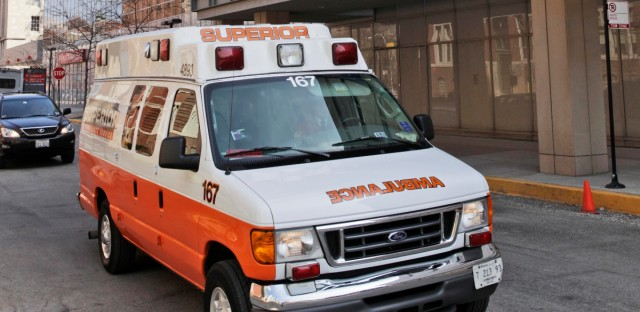 An ambulance is seen outside the University of Chicago Medical Center Friday, March 27, 2009, in Chicago.