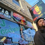 "Ed Forchion, a pro-marijuana activist known as NJ Weedman, stands in front of his Weedman's Joint restaurant Monday, March 7, 2016, in Trenton, N.J. After years of legal fights over marijuana from coast to coast, NJ Weedman appeared to be going legit with a new restaurant in New Jersey's capital city. But after Trenton officials shutdown the attached cannabis ""temple"" Saturday night for operating too late at night, Forchion says he's headed back to court."