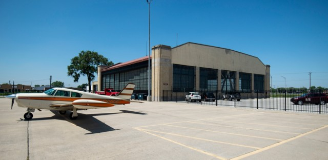 The Chicago area's oldest airport building is the historic Ford Hanger in Lansing, Illinois. It was designed by Albert Kahn for Henry Ford in 1924. (Jason Marck/WBEZ)