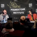 Paula Poundstone and Adam Felber recording the podcast in front of a live audience.