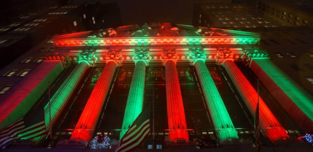 The exterior of the New York Stock Exchange photographed last week. On Monday, the Dow Jones Industrial Average had its worst Christmas Eve performance, breaking the 1918 record. Patrick Sison/AP