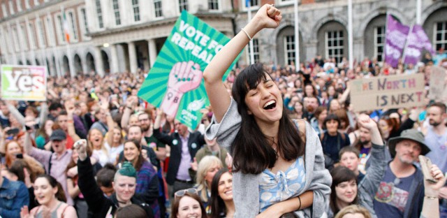 "A woman from the ""Yes"" campaign reacts after the final result was announced in the Irish referendum on the 8th Amendment of the Irish Constitution at Dublin Castle, in Dublin, Ireland, Saturday, May 26, 2018."