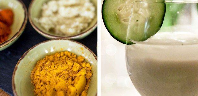 (Top) Chicken korma, or murgh qorma, an onion and tomato-based chicken braise, is traditionally eaten during Ramadan in Afghanistan. (Left) A collection of spices used to make murgh qorma. (Right) Guests were served doogh, a traditional Afghan mint yogurt drink.