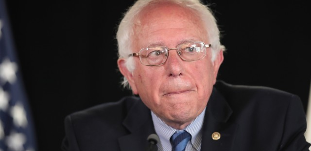 Democratic presidential candidate Sen. Bernie Sanders speaks to the media during a press conference Monday in California.