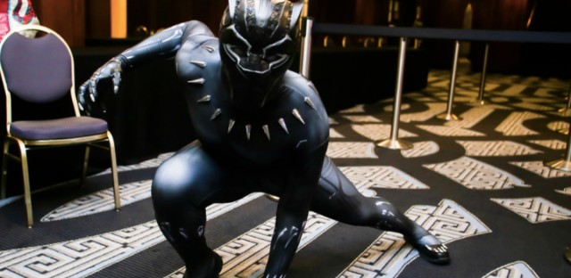 Wakandacon 2018 attendee in costume as the Black Panther.