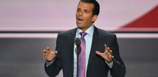 President Trump's son Donald Trump Jr. speaks at the Republican National Convention in Cleveland on July 19. On Tuesday Trump Jr. released an email exchange he had about meeting with a Russian lawyer earlier that summer.
