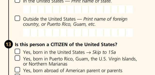 The 2000 long-form survey, sent to a subset of Americans, asked about citizenship. The more widely distributed census short form that year did not.