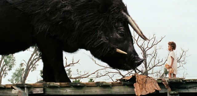 Hushpuppy meets the Auroch in Beasts of the Southern Wild