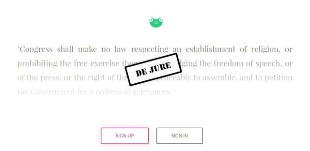 The Gab.ai home page cites the First Amendment of the U.S. Constitution.